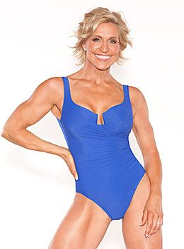 Gaining Muscle Over 50 - Toned woman in blue bathing suit